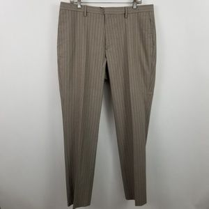 Banana Republic Slim Fit Flat Front Brown Striped